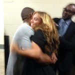 Beyonce received a warm hug from husband Jay-Z after Super Bowl performance